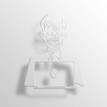 User 3D Paper Icon Symbol Business Concept No.13176