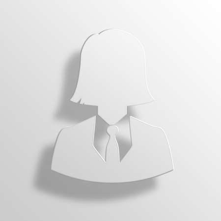 account executive: Business Woman 3D Paper Icon Symbol Business Concept No.11692 Stock Photo