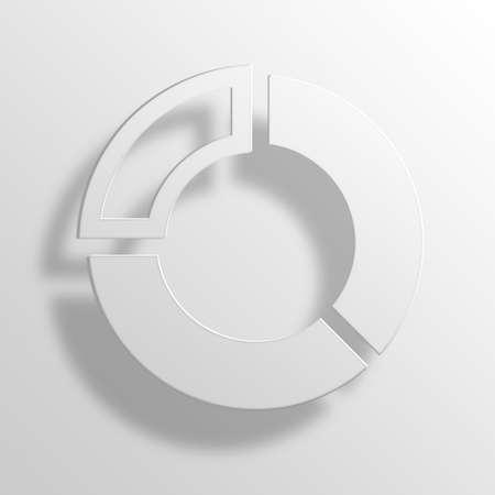 Doughnut chart 3D Paper Icon Symbol Business Concept