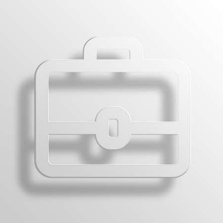 Briefcase 3D Paper Icon Symbol Business Concept No.8206