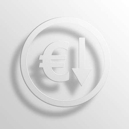 depreciation: euro depreciation 3D Paper Icon Symbol Business Concept No.9263