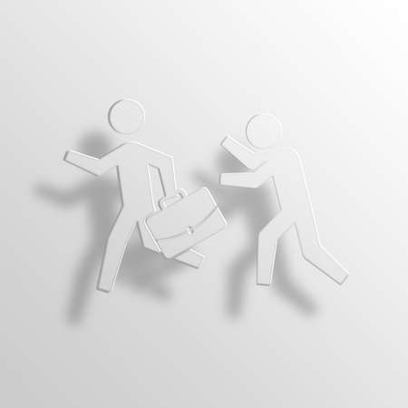 robbery 3D Paper Icon Symbol Business Concept No.13398