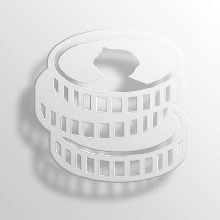 moola: Coins 3D Paper Icon Symbol Business Concept Stock Photo