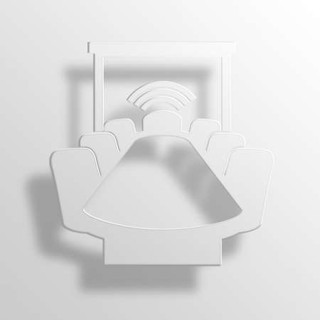 roundtable: conference room 3D Paper Icon Symbol Business Concept Stock Photo