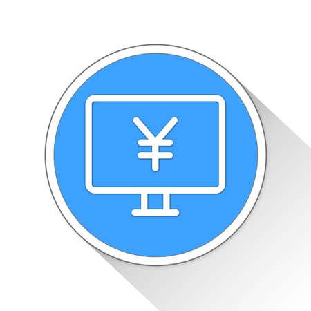 simple store: yuan monitor Button Icon Concept No.12089