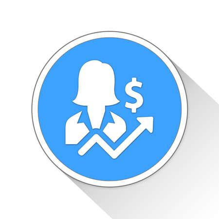 investor: Businesswoman Button Icon Concept No.13991