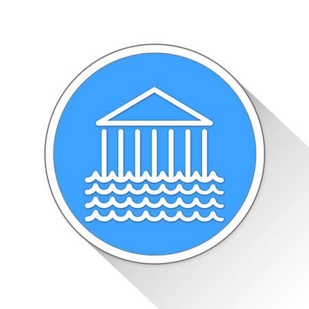 financially: Flooded Bank Button Icon Concept No.14227