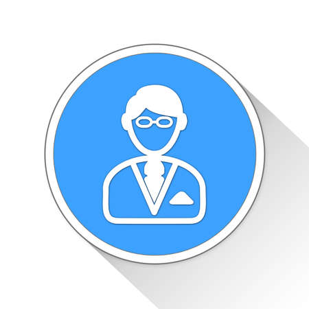 blue button: Business Man Button Icon Concept No.6501