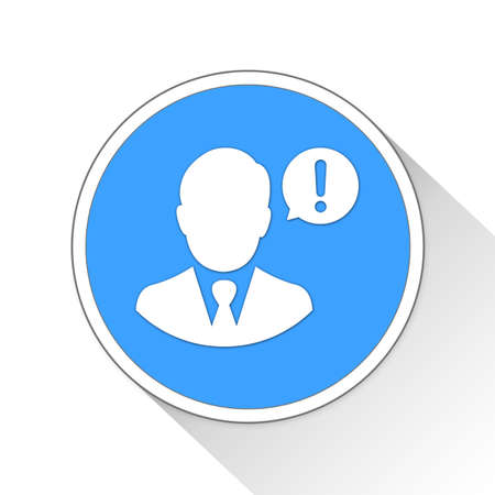 blue button: Businessman Warning Button Icon Concept No.10841