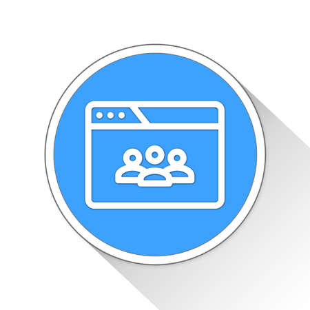 blue button: browser teleconference Button Icon Concept No.7423