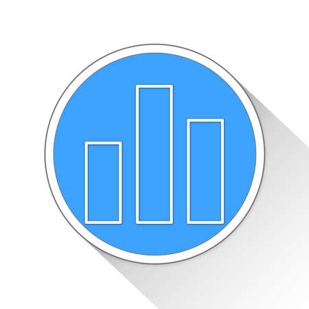 blue button: bar chart Button Icon Concept No.5260 Stock Photo