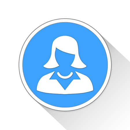 blue button: Business Woman Button Icon Concept No.1293 Stock Photo
