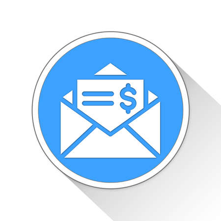 blue button: business letter Button Icon Concept No.8563