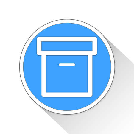blue button: Box Button Icon Concept No.10095