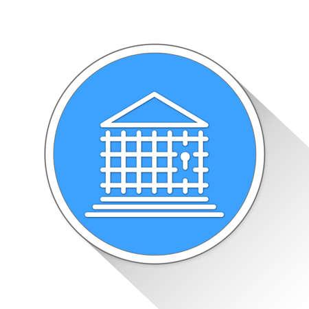 financially: Jail Bank Button Icon Concept No.13961