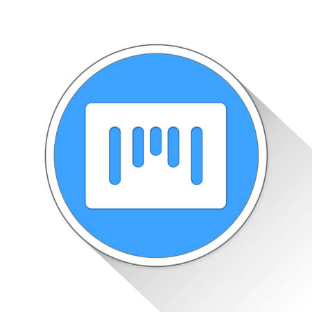 blue button: Barcode Button Icon Concept No.331