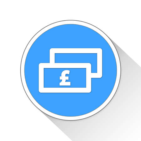 blue button: Cash pound Button Icon Concept No.3855