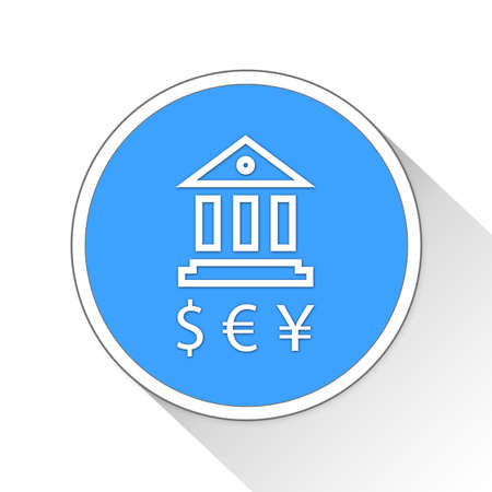 blue button: bank currencies Button Icon Concept No.12025