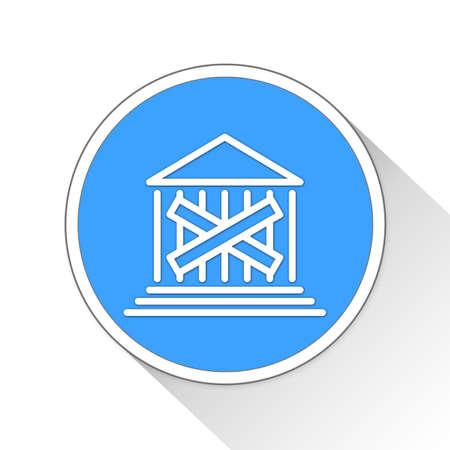 financially: Closed Bank Button Icon Concept