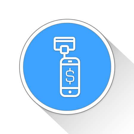e commerce: Mobile Card Reader Button Icon Concept No.8244
