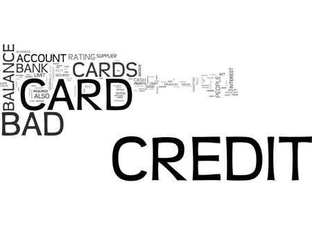 信用不良者のクレジット カード テキスト WORD クラウドのコンセプト