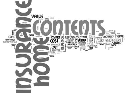 A BASIC GUIDE TO HOME CONTENTS INSURANCE TEXT WORD CLOUD CONCEPT Reklamní fotografie - 79493815