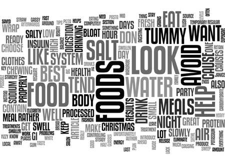 bloat: BEAT THE BLOAT TO LOOK GREAT AT CHRISTMAS TEXT WORD CLOUD CONCEPT Illustration