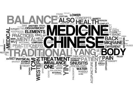A BASIC OVERVIEW OF CHINESE MEDICINE TEXT WORD CLOUD CONCEPT Illustration
