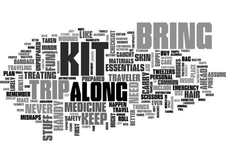 pull along: A BASIC TRAVELLER S KIT GUIDE TEXT WORD CLOUD CONCEPT Illustration