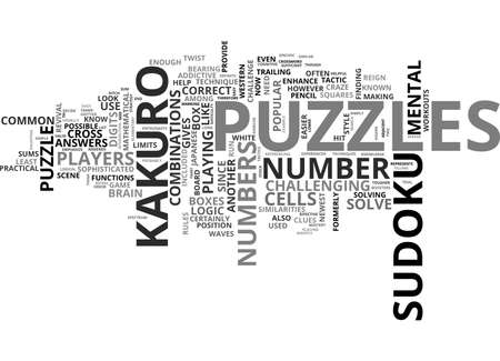 sums: BEAT THE KAKURO MONSTER TEXT WORD CLOUD CONCEPT Illustration