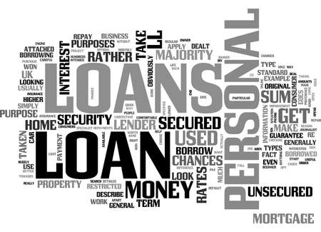 A BEGINNER S GUIDE TO PERSONAL LOANS TEXT WORD CLOUD CONCEPT Ilustrace