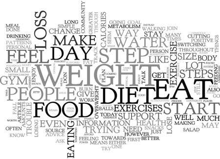 A BEGINNER S GUIDE TO WEIGHT LOSS STEPS TEXT WORD CLOUD CONCEPT