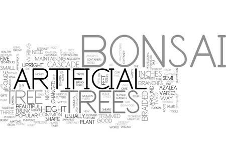 BEAUTIFUL ARTIFICIAL BONSAI TREE TEXT WORD CLOUD CONCEPT Ilustração