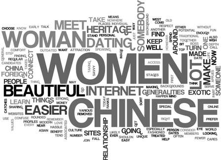 BEAUTIFUL CHINESE WOMEN FOREIGNEXOTIC WOMEN TEXT WORD CLOUD CONCEPT
