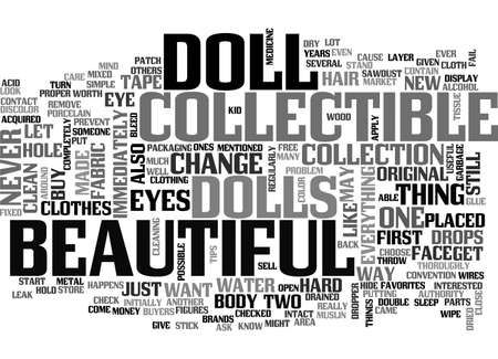 BEAUTIFUL COLLECTIBLE DOLLS TEXT WORD CLOUD CONCEPT