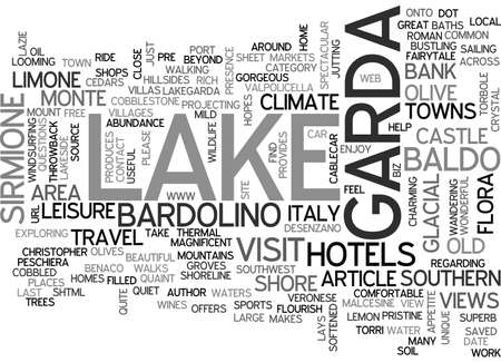 BEAUTIFUL LAKE GARDA ITALY TEXT WORD CLOUD CONCEPT