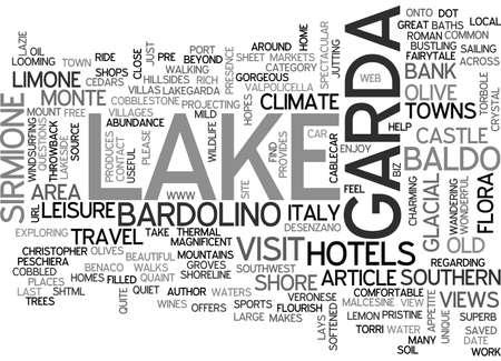 BEAUTIFUL LAKE GARDA ITALY TEXT WORD CLOUD CONCEPT