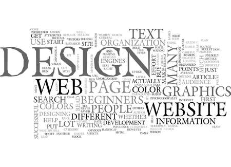 A BEGINNERS GUIDE TO WEB PAGE DESIGN TEXT WORD CLOUD CONCEPT