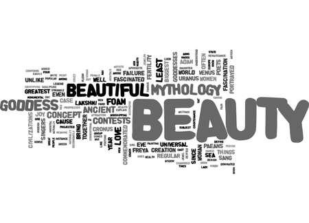 아름다움과 신화 텍스트 단어 구름 개념 일러스트
