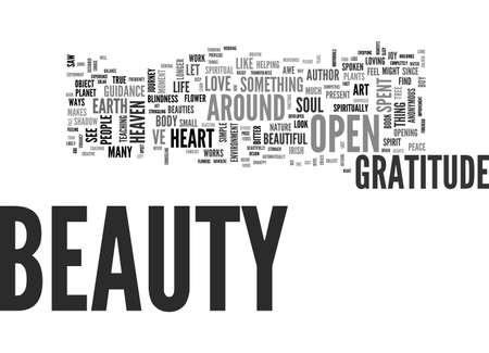 BEAUTY GRATITUDE AND THE OPEN HEART TEXT WORD CLOUD CONCEPT