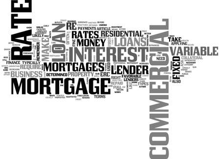 A BRIEF COMMERCIAL MORTGAGE GUIDE TEXT WORD CLOUD CONCEPT Ilustrace