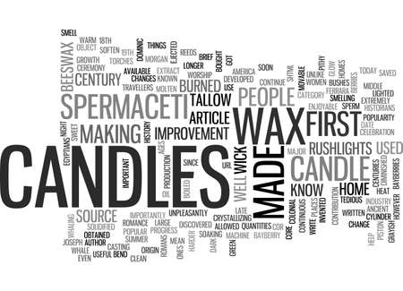 discovered: A BRIEF HISTORY OF CANDLES TEXT WORD CLOUD CONCEPT