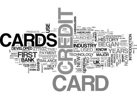 A BRIEF HISTORY OF CREDIT CARDS TEXT WORD CLOUD CONCEPT