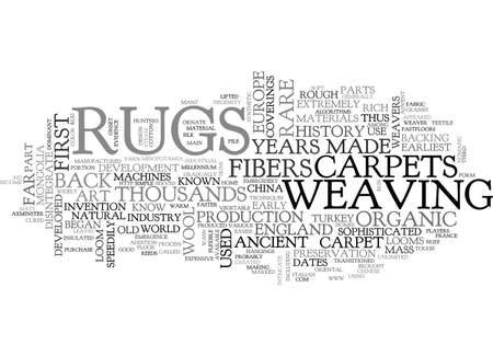 A BRIEF HISTORY OF RUGS AND CARPETS TEXT WORD CLOUD CONCEPT Illustration