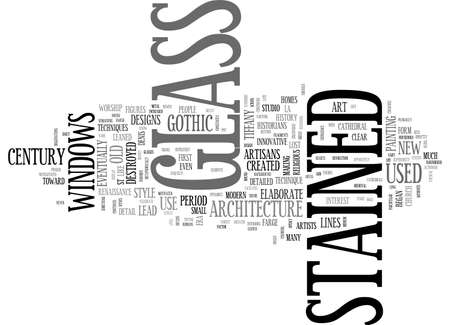 A BRIEF HISTORY OF STAINED GLASS TEXT WORD CLOUD CONCEPT