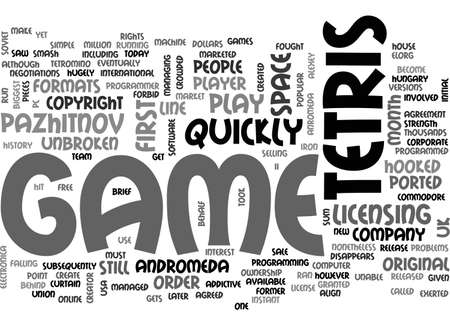 A BRIEF HISTORY OF TETRIS TEXT WORD CLOUD CONCEPT