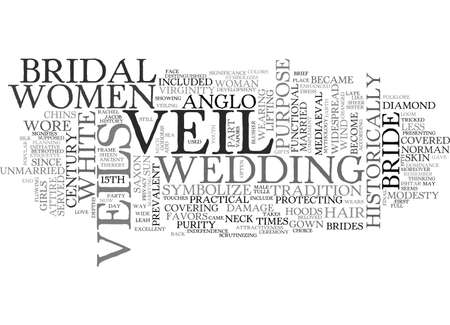 A BRIEF HISTORY OF THE BRIDAL VEIL TEXT WORD CLOUD CONCEPT Illustration