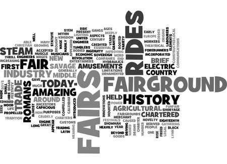 devised: A BRIEF HISTORY OF THE FAIRGROUND INDUSTRY TEXT WORD CLOUD CONCEPT