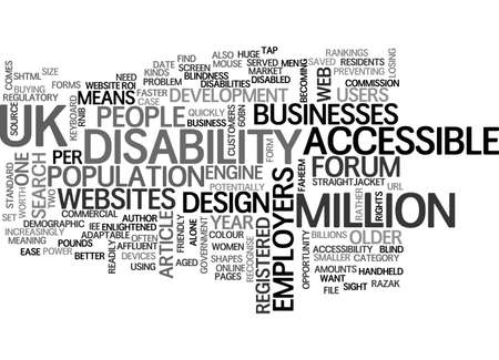 A BUSINESS CASE FOR ACCESSIBLE WEBSITE DESIGN TEXT WORD CLOUD CONCEPT