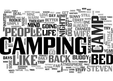 A CAMP BED CHANGED MY LIFE TEXT WORD CLOUD CONCEPT 向量圖像
